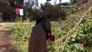Chainsaw wielding nun speaks out